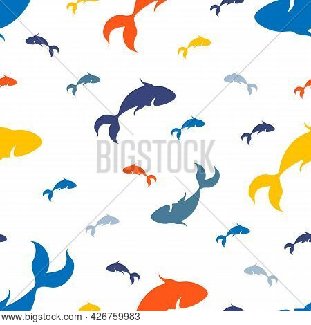 Seamless Pattern Of Silhouettes Of Fish In The Water. Vector Image On A White Background.