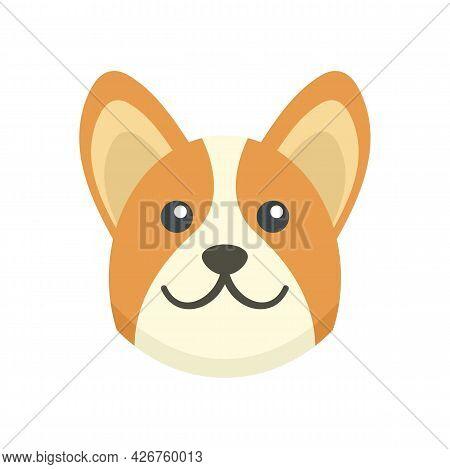 Corgi Dog Icon. Flat Illustration Of Corgi Dog Vector Icon Isolated On White Background