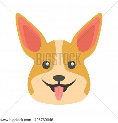 Happy Corgi Dog Icon. Flat Illustration Of Happy Corgi Dog Vector Icon Isolated On White Background