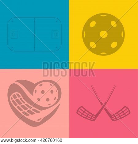 Pattern Floorball Equipment. Pattern Abstract Floorball Heart And Other Equipment.