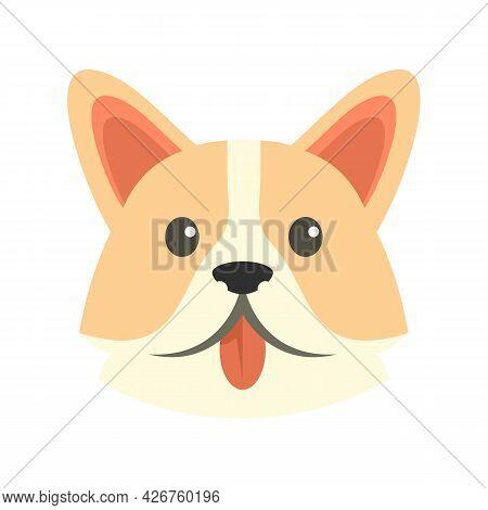 Sad Corgi Dog Icon. Flat Illustration Of Sad Corgi Dog Vector Icon Isolated On White Background