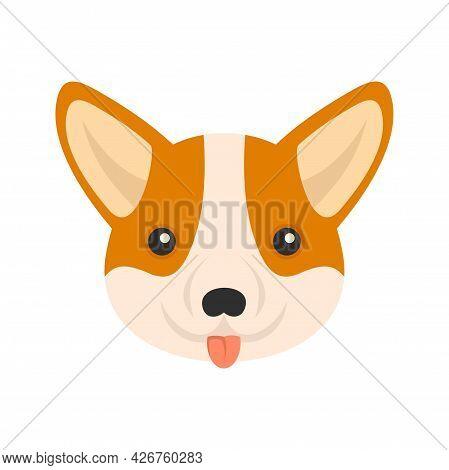Corgi Dog Face Icon. Flat Illustration Of Corgi Dog Face Vector Icon Isolated On White Background