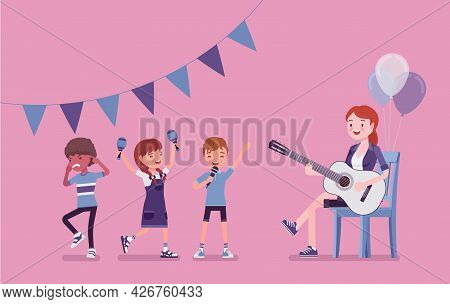 Kindergarten Music Party, Female Teacher Playing Guitar. Preschool Singing Classroom, Birthday Dance