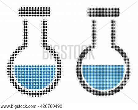 Dot Halftone Analysis Flask Icon. Vector Halftone Pattern Of Analysis Flask Icon Designed Of Spheric
