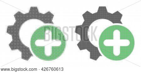 Pixel Halftone Add Settings Gear Icon. Vector Halftone Concept Of Add Settings Gear Icon Designed Of