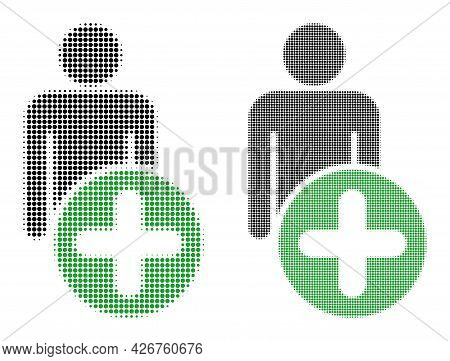 Dot Halftone Add Man Figure Icon. Vector Halftone Concept Of Add Man Figure Icon Combined With Circl