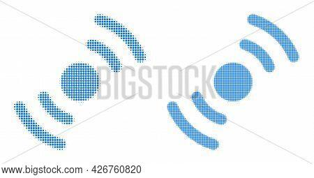Dotted Halftone Air Turbine Rotation Icon. Vector Halftone Mosaic Of Air Turbine Rotation Icon Desig