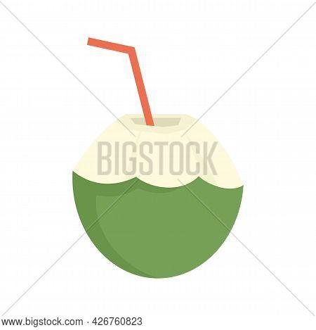Fresh Raw Cocktail Icon. Flat Illustration Of Fresh Raw Cocktail Vector Icon Isolated On White Backg