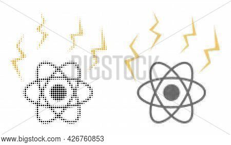 Dotted Halftone Atomic Emission Icon. Vector Halftone Collage Of Atomic Emission Icon Formed Of Roun