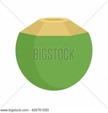 Freshness Coconut Icon. Flat Illustration Of Freshness Coconut Vector Icon Isolated On White Backgro