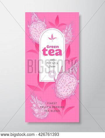 Fruit And Berries Tea Label Template. Abstract Vector Packaging Design Layout With Realistic Shadows