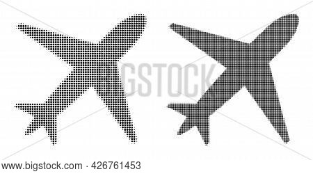 Pixel Halftone Airplane Icon. Vector Halftone Pattern Of Airplane Icon Created Of Circle Items.