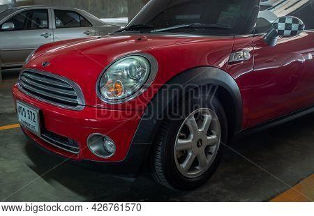 Bangkok, Thailand - 30 Jun 2021 : Side View Of Headlights, Wheel, Hood, Sidelights And Side View Mir