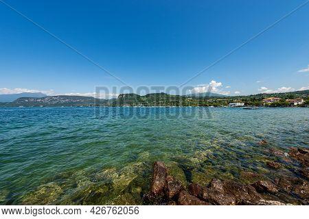 Lake Garda (lago Di Garda), Beautiful Bay In Front Of The Small Village Of Bardolino, Tourist Resort