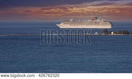 Nassau, Bahamas - March 1, 2018:  Carnival Cruise Lines Cruise Ship Departs From The Port Of Bahamas