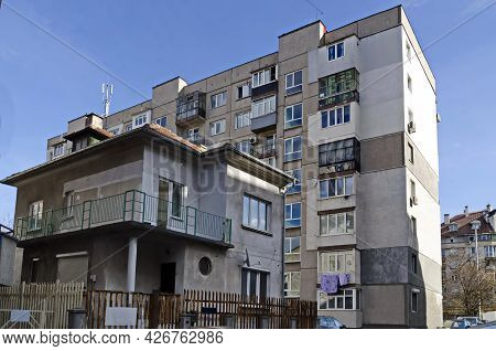 Sofia, Bulgaria - January 24, 2021: Residential District With Old Houses From The Twentieth Century,