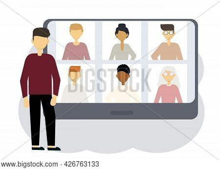 Online Conference Illustration. A Man Next To A Computer With Portraits Of Men And Women