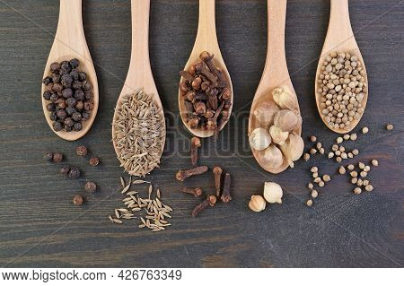 Top View Of Assortment Of Spices In Wooden Spoons
