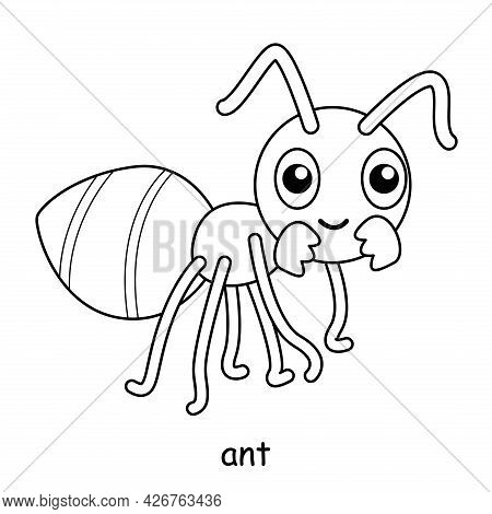 Children Coloring On The Theme Of Animal Vector, Ant