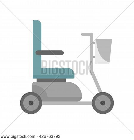 Electric Wheelchair Icon. Flat Illustration Of Electric Wheelchair Vector Icon Isolated On White Bac