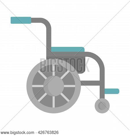 Side View Wheelchair Icon. Flat Illustration Of Side View Wheelchair Vector Icon Isolated On White B