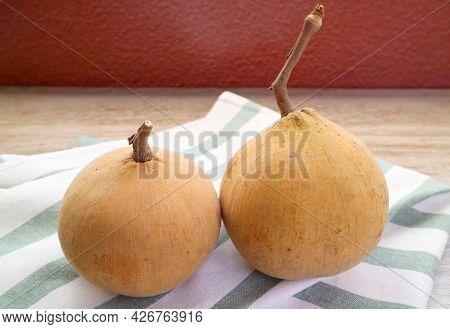 Pair Of Fresh Ripe Santol Fruits Also Called Wild Mangosteen