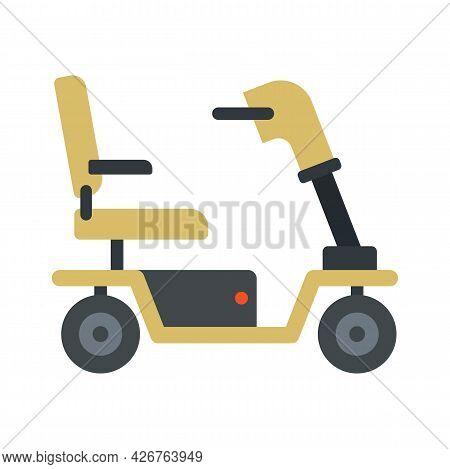 Motorized Wheelchair Icon. Flat Illustration Of Motorized Wheelchair Vector Icon Isolated On White B