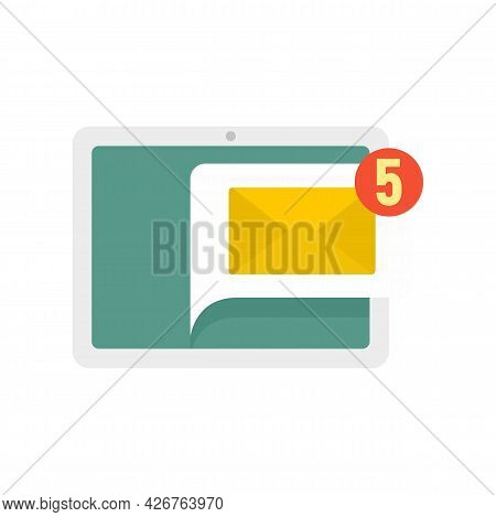 Tablet Notification Icon. Flat Illustration Of Tablet Notification Vector Icon Isolated On White Bac