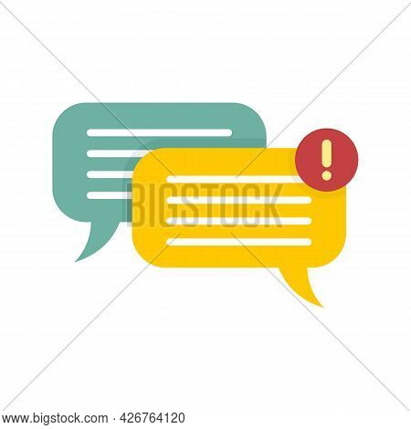 Chat Notification Icon. Flat Illustration Of Chat Notification Vector Icon Isolated On White Backgro