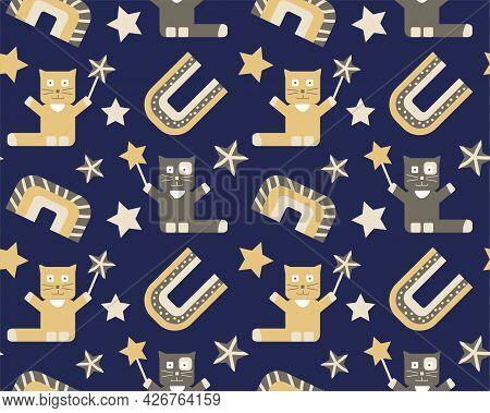Seamless Magical Kids Pattern, Cat With Wand, Boho Rainbows And Stars. Baby Nursery Pattern. Cream,