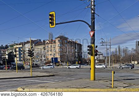 Sofia, Bulgaria - January 24, 2021: Urban Infrastructure With Intersection And Traffic Light System,