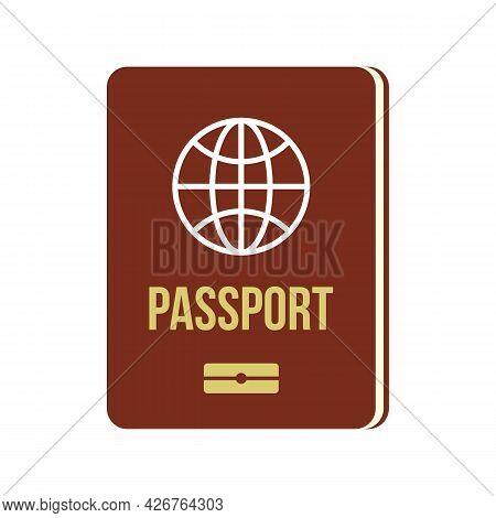 Passport Icon. Flat Illustration Of Passport Vector Icon Isolated On White Background