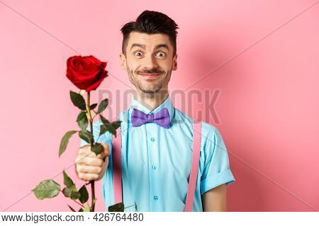 Valentines Day And Romance Concept. Funny Guy With Moustache Giving Red Rose And Smiling, Making Rom