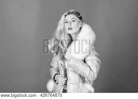 Winter Clothes. Down Jacket With Furry Hood. Girl Wear Winter Jacket. Winter Season. Soft Fur. For T