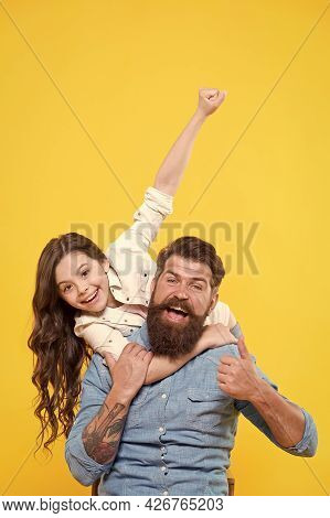 Lovely Father And Cute Kid. Strong Friendship. Father And Daughter Together. Communication Skills. C