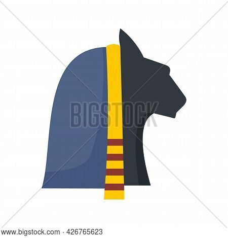 Egypt Cat Head Icon. Flat Illustration Of Egypt Cat Head Vector Icon Isolated On White Background
