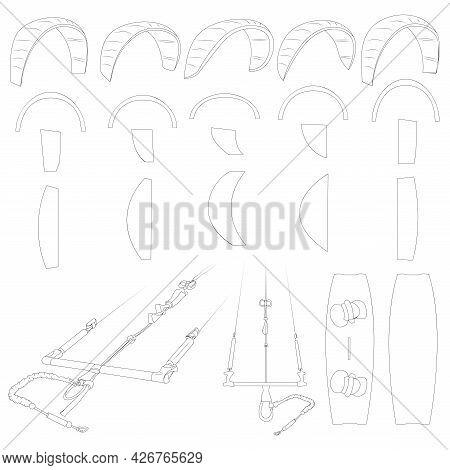 Kiteboarding Or Kitesurfing. Detailed Illustration Of Sports Equipment. Variety Of Kites.