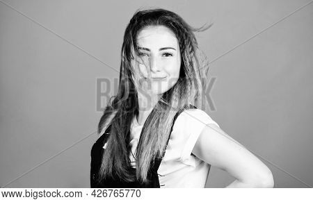Ambitious And Beautiful. Stylish Hair. Woman In Hipster Trend. Trendy Look Of Fashion Model. Makeup