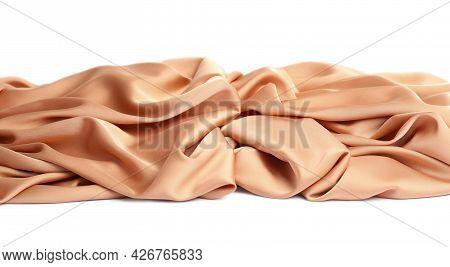 Beautiful Delicate Peach Silk On White Background