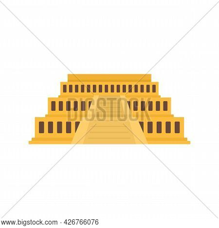 Big Egypt Temple Icon. Flat Illustration Of Big Egypt Temple Vector Icon Isolated On White Backgroun