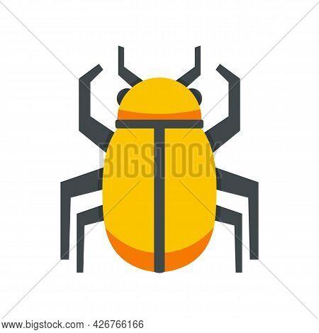 Gold Egypt Bug Icon. Flat Illustration Of Gold Egypt Bug Vector Icon Isolated On White Background