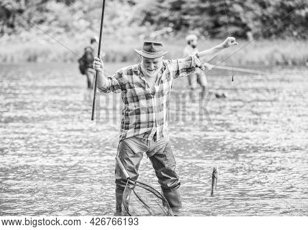 Life Full Of New Hobbies. Summer Weekend. Fisherman With Fishing Rod. Mature Man Fishing. Retired Be