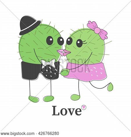 Funny Simple Naive Cute Cactus Kissing Pair:girl With Pink Bow And Boy With Navy Hat.for Decoration