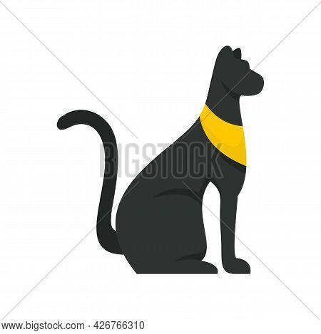 Black Egypt Cat Icon. Flat Illustration Of Black Egypt Cat Vector Icon Isolated On White Background