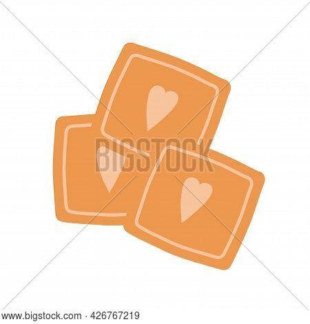 Square Cookies With Hearts On An Isolated Background. Appetizer Or Dessert. Flat Design Element. Unh