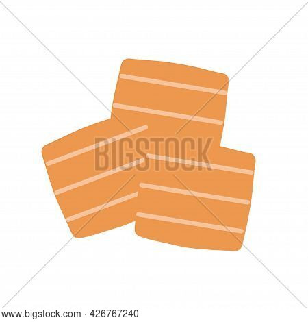 Square Cookies With Stripes On An Isolated Background. Appetizer Or Dessert. Flat Design Element. Un