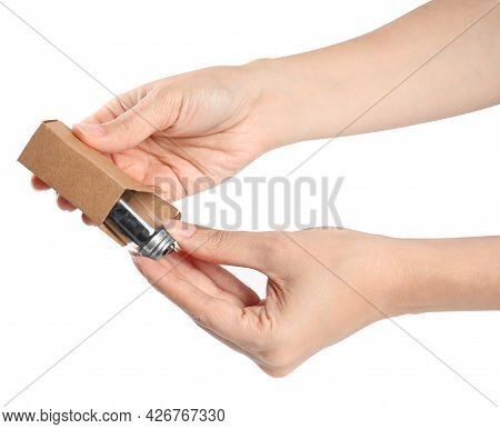 Woman Holding Natural Dental Floss On White Background, Closeup