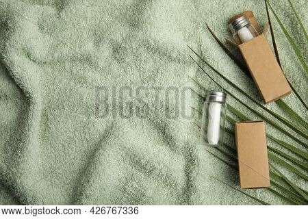 Flat Lay Composition With Natural Dental Floss On Towel. Space For Text