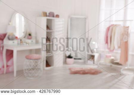 Blurred View Of Stylish Dressing Room. Interior Design