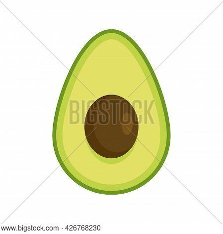 Half Avocado Icon. Flat Illustration Of Half Avocado Vector Icon Isolated On White Background